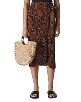 Whistles - Brushed Leopard-Print Wrap Skirt