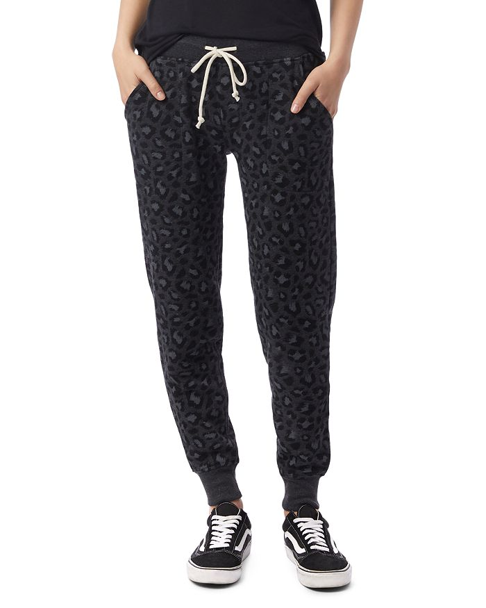 Alternative Printed Sweatpants In Dark Gray Leopard