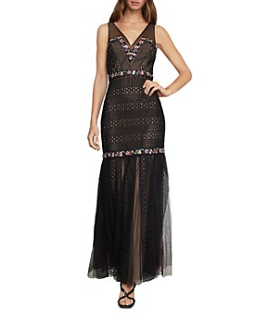 BCBGMAXAZRIA - Embroidered Lace & Tulle Gown
