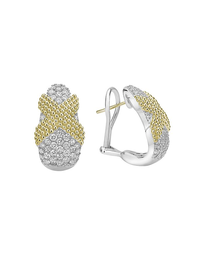 LAGOS - Sterling Silver & 18K Yellow Gold Cavair Lux Pavé Diamond Clip-On Earrings