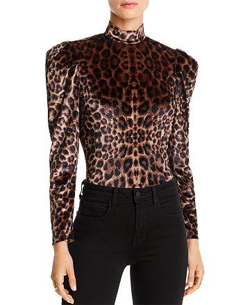 LINI - Gillian Puff-Sleeve Leopard Print Velvet Top - 100% Exclusive