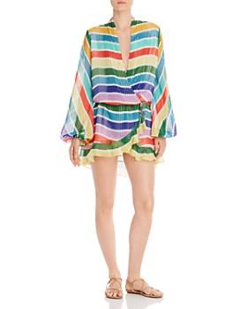 Rococo Sand - Rainbow Stripe Blouson Mini Dress