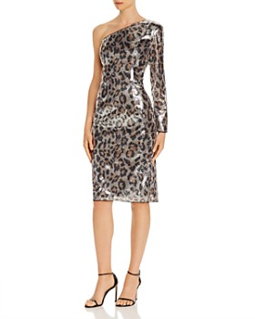 Adrianna Papell - Leopard Sequined One-Sleeve Dress