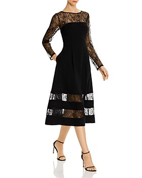 Aidan by Aidan Mattox - Shadow Striped Crepe Midi Dress