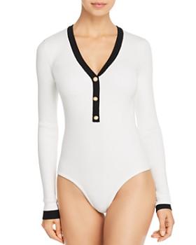 Ronny Kobo - Giavanna Pearl-Button Bodysuit