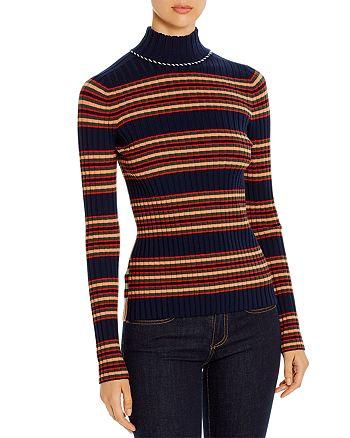 Tory Burch - Striped Merino Wool Turtleneck