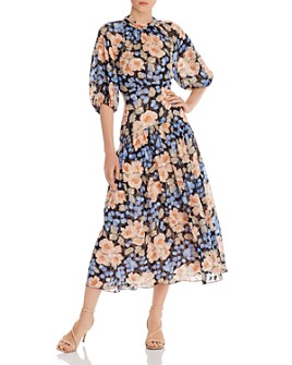 Rebecca Taylor - Tie Neck Rose Blush Print Silk-Blend Dress