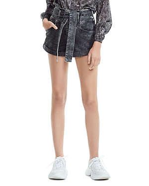 Maje Illou High-Rise Acid-Washed Denim Mini Shorts in Anthracite