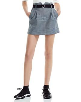 Maje - Jadie Pleated Prince of Wales Mini Skirt