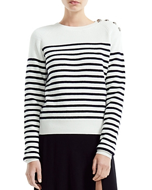 Maje Marin Striped Button-Detail Sweater