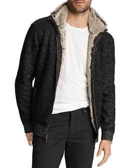John Varvatos Collection - Faux Fur-Trimmed Classic Fit Zip-Front Cardigan