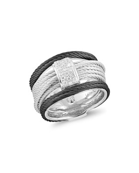 ALOR - Noir Pavé Diamond-Encrusted Cable Ring