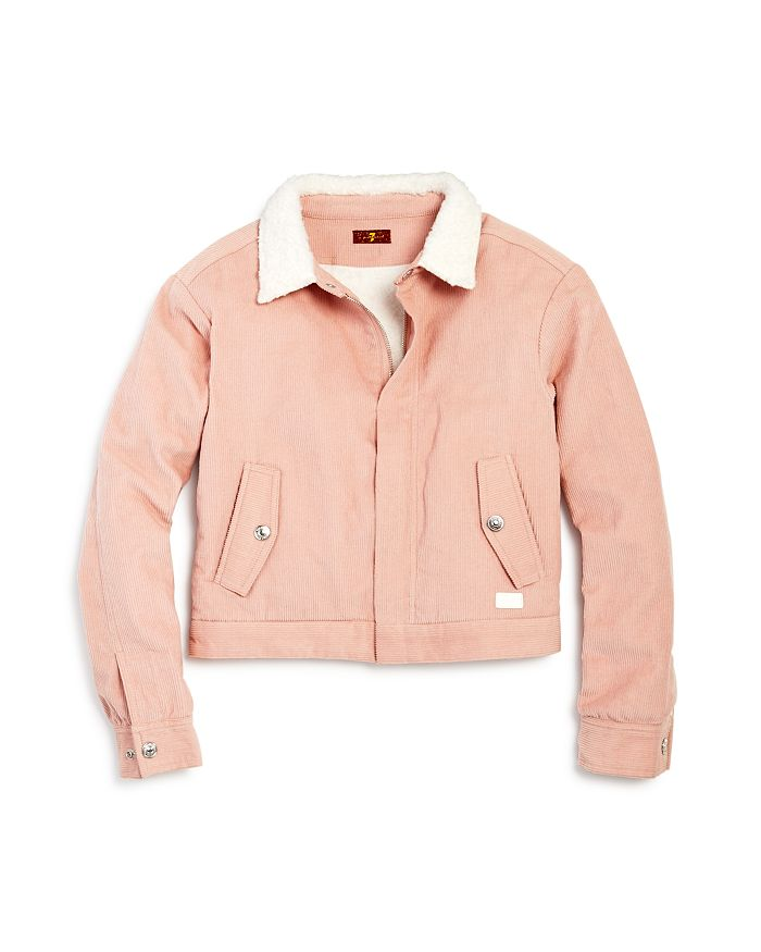 7 For All Mankind Girls' Faux Sherpa & Corduroy Jacket - Big Kid In Pink