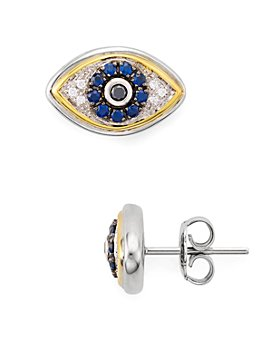 Bloomingdale's - Diamond Evil Eye Stud Earrings in Sterling Silver & 14K Gold-Plated Sterling Silver - 100% Exclusive