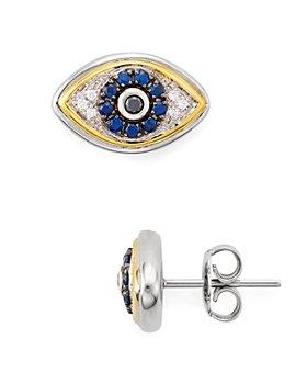 Bloomingdale's - Diamond Evil Eye Stud Earrings in Sterling Silver & 14K Gold-Plated Sterling Silver - 100% Exclusive