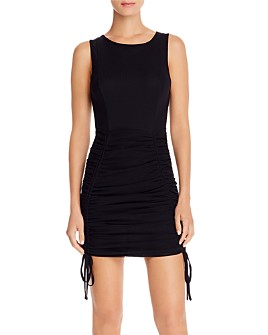Tiger Mist - Theo Ruched Drawstring Mesh Dress