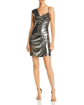 BCBGMAXAZRIA - Gunmetal Lamé Cocktail Dress - 100% Exclusive