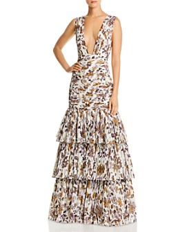 Fame and Partners - Dahlia Floral Plunge Gown