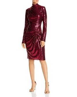 Tadashi Shoji - High Neck Ruched Sequin Dress