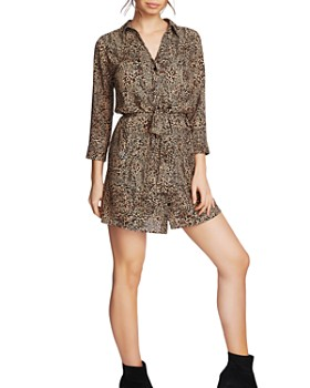 1.STATE - Leopard Print Belted Shirt Dress