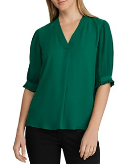 Ralph Lauren - Micro-Pleated V-Neck Georgette Top