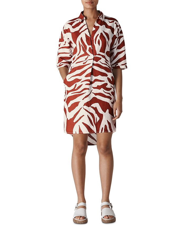 Whistles - Lola Graphic Zebra Linen Dress
