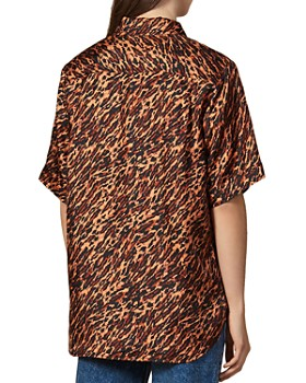 Sandro - Evie Abstract Leopard-Print Silk Shirt