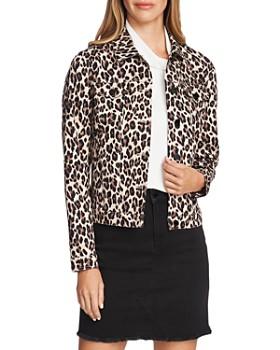 VINCE CAMUTO - Leopard Print Denim Jacket
