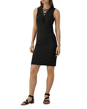 KAREN MILLEN - Lace-Up Ponte Dress