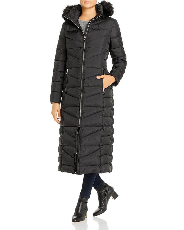 Calvin Klein - Faux Fur-Trim Maxi Puffer Coat