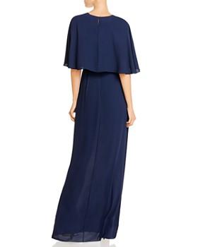 BCBG - Georgette Faux-Wrap Capelet Gown
