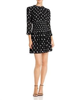 Shoshanna - Smocked Rose-Print Mini Dress