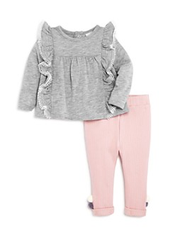 Miniclasix - Girls' Ruffled Top & Pom-Pom Leggings Set - Baby