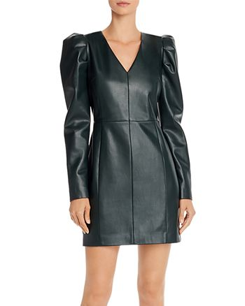 AQUA - Puff-Sleeve Faux Leather Dress - 100% Exclusive