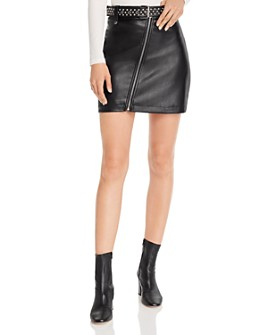 AQUA - Belted Faux Leather Skirt - 100% Exclusive