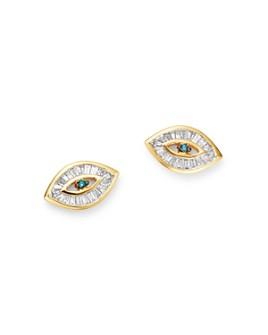 Adina Reyter - 14K Yellow Gold White & Blue Diamond Evil Eye Stud Earrings