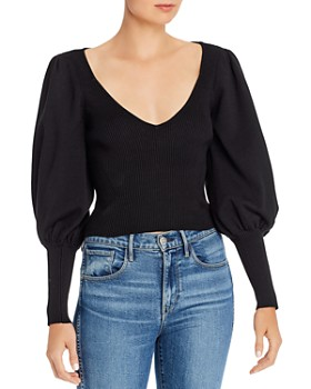 Ronny Kobo - Tegan Juliet-Sleeve Ribbed Top