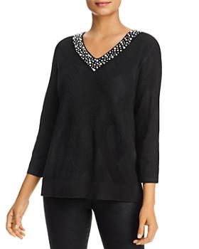 KARL LAGERFELD Paris - Embellished V-Neck Sweater