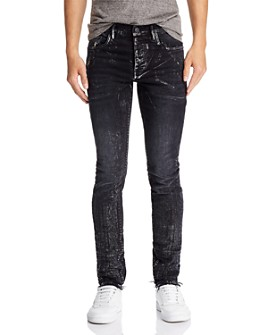 Purple Brand - Metallic Detail Skinny Fit Jeans in Black Wash Multi