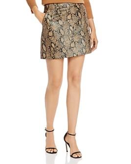 FRAME - Python-Embossed Leather Mini Skirt