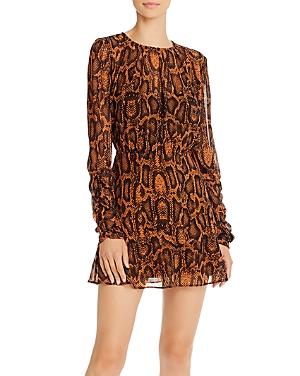 Finders Keepers Lana Snakeskin-Print Mini Dress