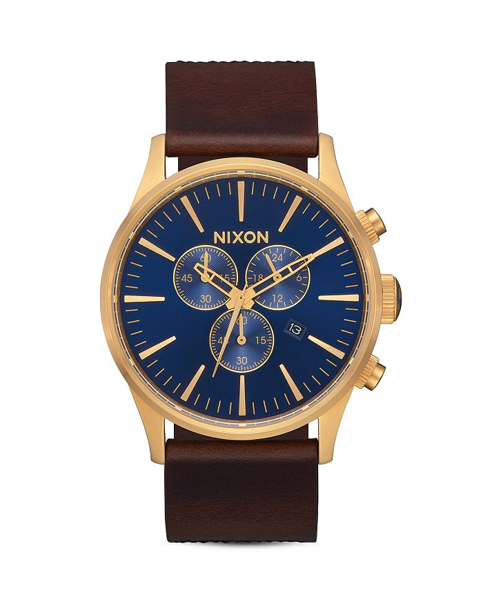 Nixon - The Sentry Leather Strap Chronograph, 42mm