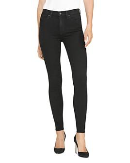 Hudson - Barbara High Waisted Super Skinny Jeans in Black