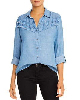 Billy T - Frayed-Ruffle Chambray Shirt