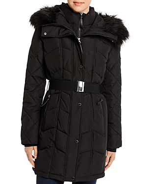 Calvin Klein Faux Fur-Trim Belted Quilted Coat