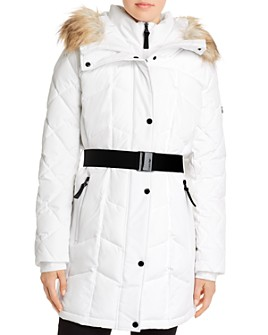 Calvin Klein - Faux Fur-Trim Belted Quilted Coat