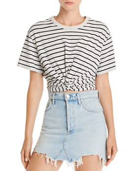 alexanderwang.t - Striped Twist-Front Tee