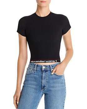 alexanderwang.t - Body Stocking High-Stretch Cropped Logo Tee