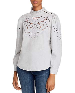 Rebecca Taylor Tops LA VIE REBECCA TAYLOR LEAH EMBROIDERED EYELET TOP
