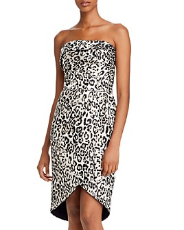 Black Halo - Tamara Leopard Tulip-Hem Dress